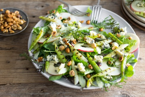 Grilled Leek & Blue Cheese Salad with Apples, Celery & Hazelnuts