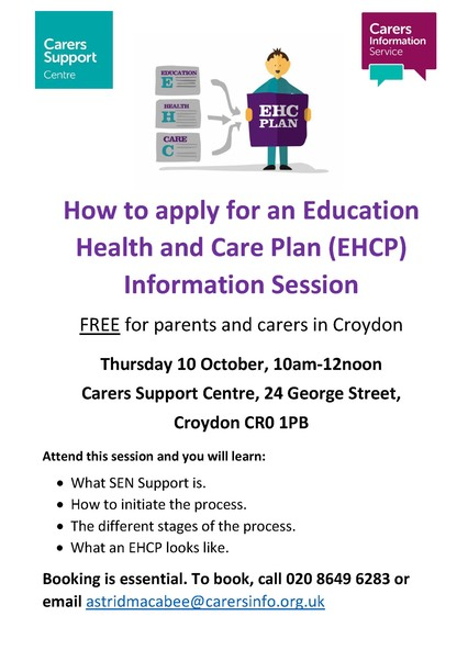Information session poster How to apply for an EHCP 10.10.19