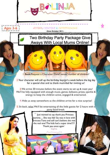 Local Mums Online Prize Info:Flyer for Promo