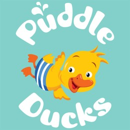 Puddle Ducks colour logo small - Puddle Blue bg